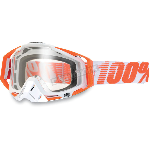 100% Orange/White Racecraft Goggles w/Clear Lens - 50100-006-02