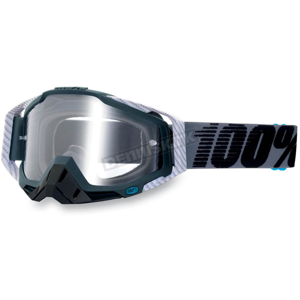 100% Gray/Black Racecraft Goggles w/Clear Lens - 50100-025-02