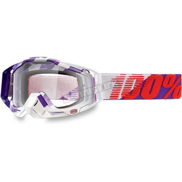 100% Purple Main Racecraft Goggles w/Clear Lens - 50100-053-01
