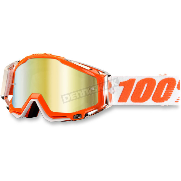 100% Orange/White Racecraft Mandarnia 2 Goggle w/Mirror Gold Lens - 50110-092-02