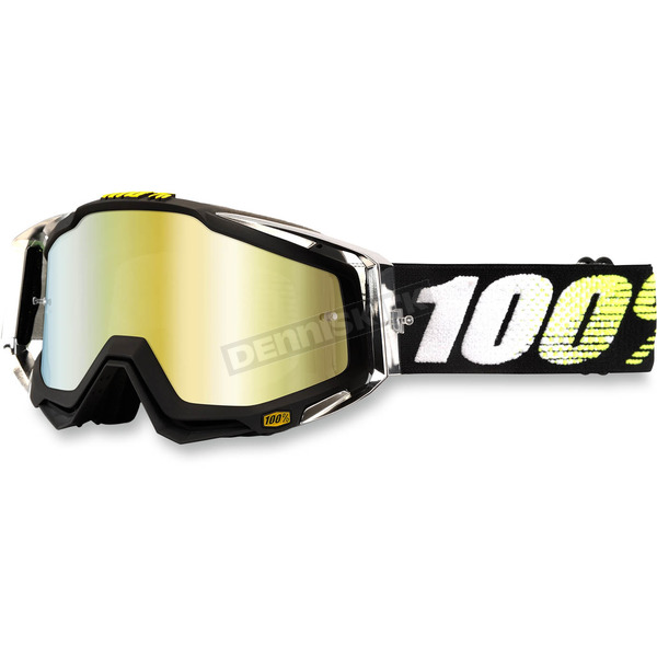 100% Black/White/Yellow Racecraft T2 Goggle w/Mirror Gold Lens - 50110-093-02