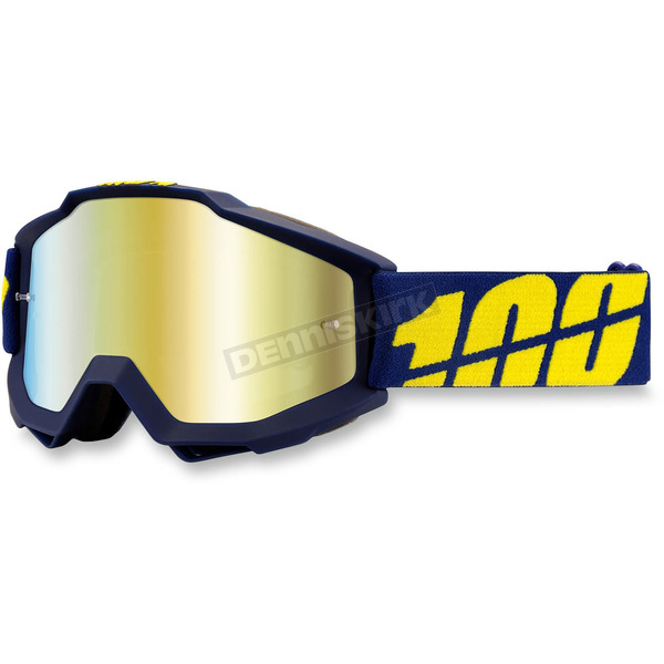 100% Blue/Yellow Accuri Charger Goggle w/Mirror Gold Lens - 05210-097-02