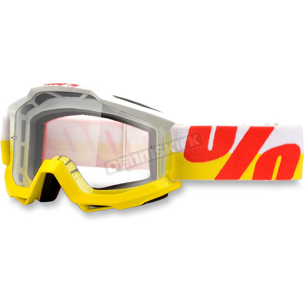 100% White/Yellow/Red Accuri In & Out Goggle w/Clear Lens - 50200-095-02