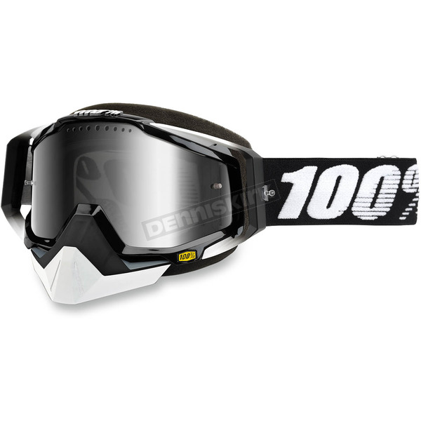 100% Black Racecraft Snow Abyss Black Goggle w/Dual Mirror Silver Lens - 50113-001-02
