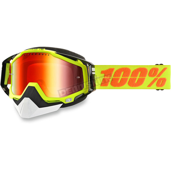 100% Yellow Racecraft Snow Neon Sign Goggle w/Dual Mirror Red Lens - 50113-004-02