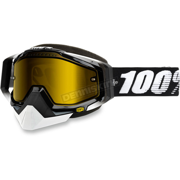 100% Black Racecraft Snow Abyss Black Goggle w/Dual Yellow Lens - 50103-001-02
