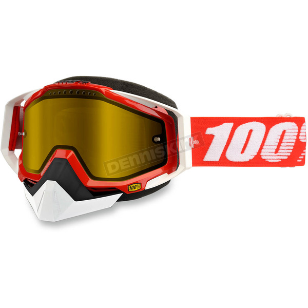 100% Red Racecraft Snow Fire Red Goggle w/Dual Yellow Lens - 50103-003-02
