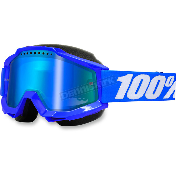 100% Blue Accuri Snow Goggle w/Dual Mirror Blue Lens - 50213-002-02