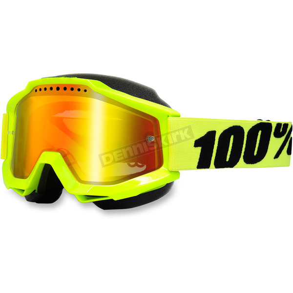 100% Yellow Accuri Snow Goggle w/Dual Mirror Red Lens - 50213-004-02