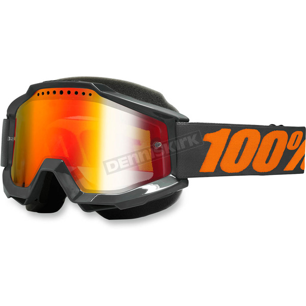 100% Gray Accuri Snow Goggle w/Dual Mirror Red Lens - 50213-025-02