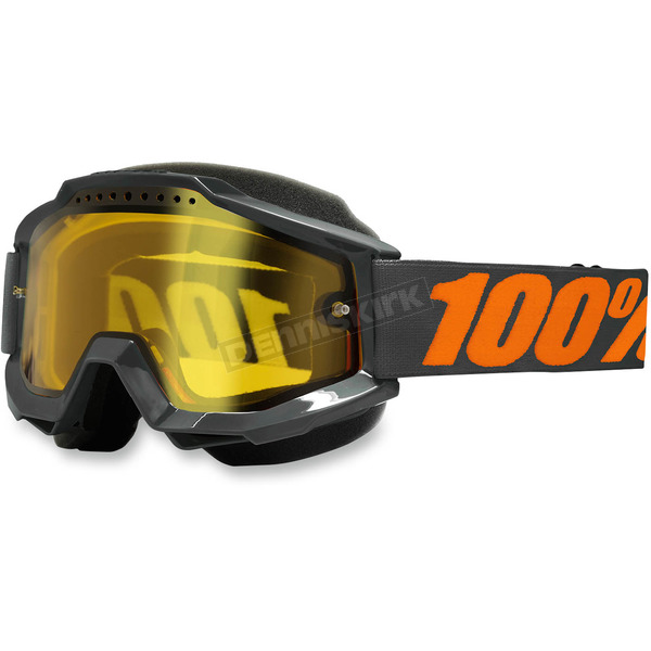 100% Gray Accuri Snow Goggle w/Dual Yellow Lens - 50203-025-02