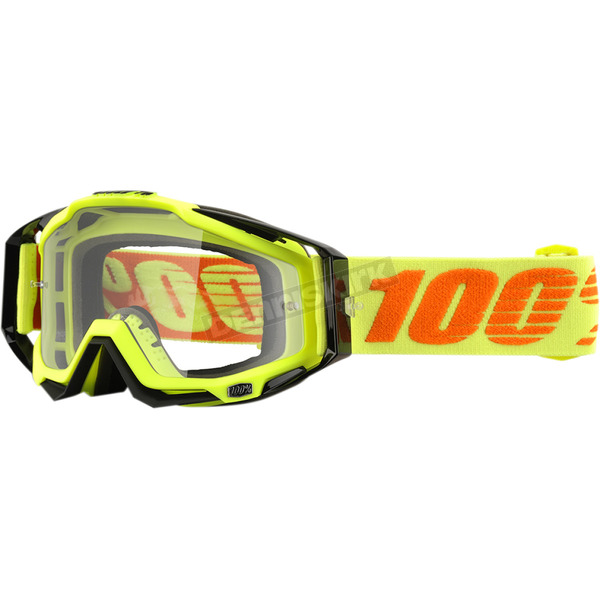 100% Neon Attack Racecraft Goggles w/Clear Lens - 50100-026-02