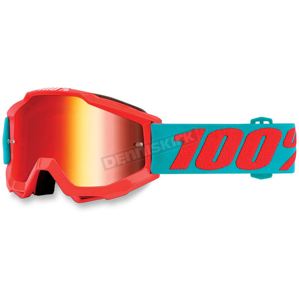 100% Accuri Youth Passion Orange Goggles w/Mirror Red Lens - 50310-197-02