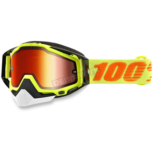 100% Yellow Racecraft Snow Goggle w/Dual Mirror Red Lens - 50113-026-02