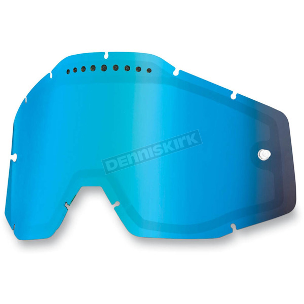 100% Mirror Blue Dual Vented Replacement Lens for Racecraft/Accuri/Strata Snow Goggles - 51006-022-02