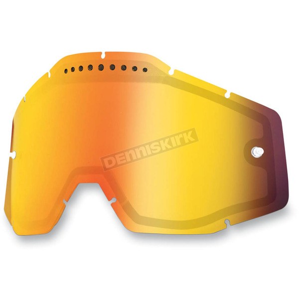 100% Mirror Red Dual Vented Replacement Lens for Racecraft/Accuri/Strata Snow Goggles - 51006-003-02