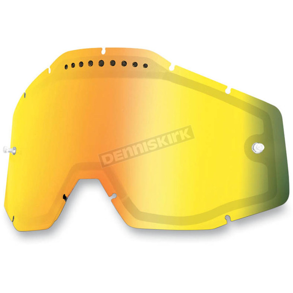 100% Mirror Gold Dual Vented Replacement Lens for Racecraft/Accuri/Strata Snow Goggles - 51006-009-02
