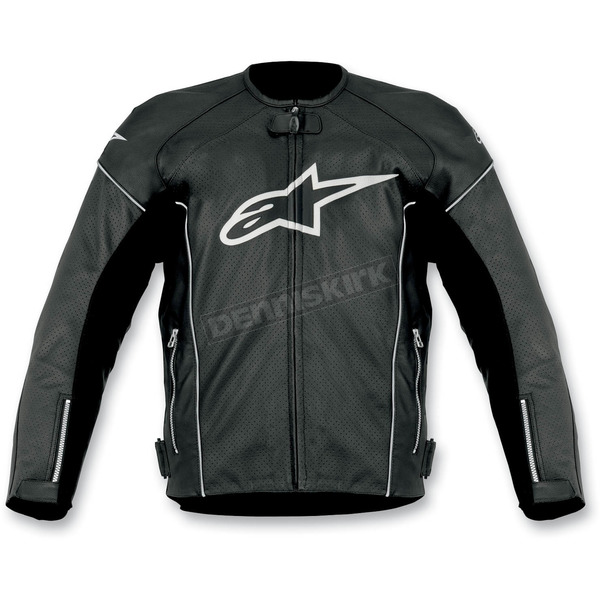 Alpinestars Black/White TZ-1 Reload Perforated Leather Jacket - 3107512-12-48