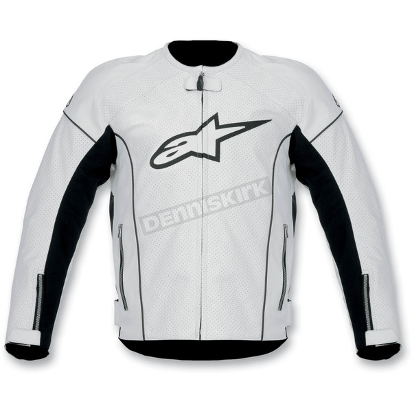 Alpinestars White TZ-1 Reload Perforated Leather Jacket - 3107512-20-48
