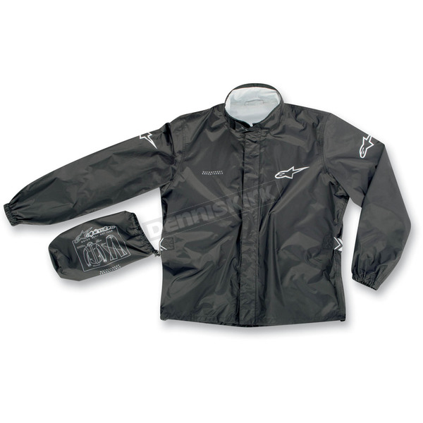 Alpinestars Black Quick Seal Out Rain Jacket and Pants - 3264512-10-S