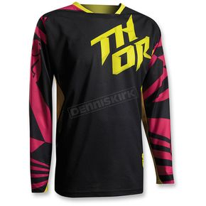 Thor Youth Magenta/Yellow/Black Fuse Air Jersey - 2912-1379