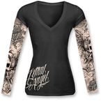 Womens Black Skull and Tattoo Sleeves Shirt - LT20284S