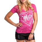 Womens Hot Pink Stamped V-Neck T-Shirt - M157S18105HPKL