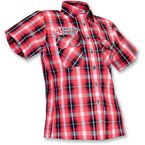 Womens Kilted Red 2 Shop Shirt - TT428ST98BR2R