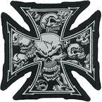 Gray Skull Cross Embroidered Patch - LT30029