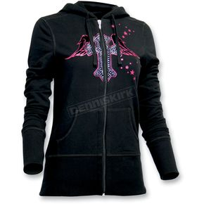 Throttle Threads Womens Angelic Hoody - TT432F72BK2R