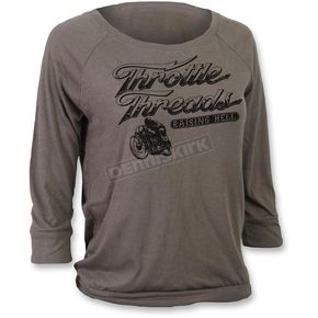 Throttle Threads Womens Dark Gray Hellraiser Long Sleeve T-Shirt - TT603S48WGXR