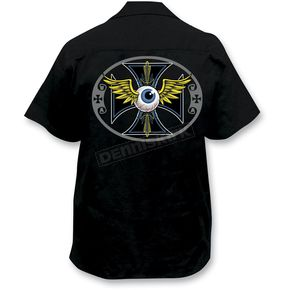 Lethal Threat Pinstripe Eyeball Embroidered Work Shirt - FE50107XXXL