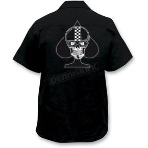 Lethal Threat Spade Biker Skull Embroidered Work Shirt - FE50122XXXL