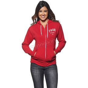 Thor Womens Red/White Shop Zip-up Hoody - 3051-0864