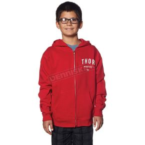 Thor Youth Red Shop Zip-Up Hoody - 3052-0336