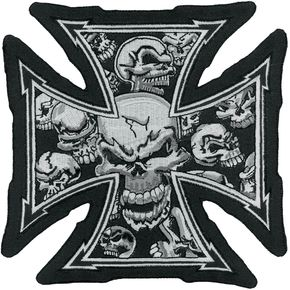 Lethal Threat Gray Skull Cross Embroidered Patch - LT30029