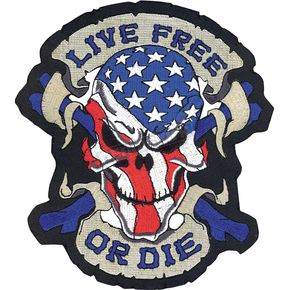 Lethal Threat Live Free Skull Embroidered Patch - LT30063