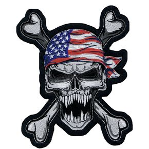 Lethal Threat USA Skull Embroidered Patch - LT30092