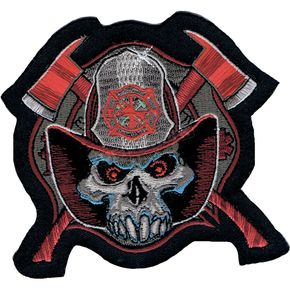 Lethal Threat Fireman Skull Mini Embroidered Patch - MN32030