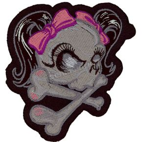 Lethal Threat Pink Ribbon Skull Mini Embroidered Patch - MN32005