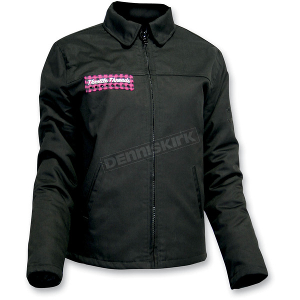 Throttle Threads Womens Pink Bunky Black Jacket - TT429J30BK2R