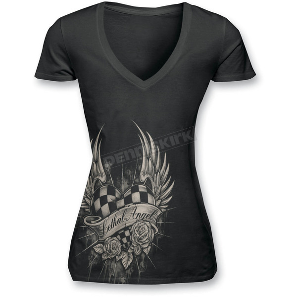 Lethal Threat Womens Race Heart T-Shirt - LT20209L