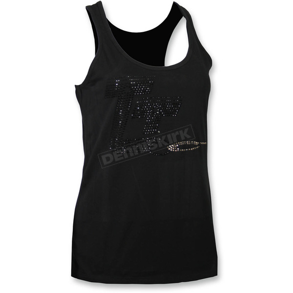 Throttle Threads Womens Black Racer Tank Top - TT605T42BKSR