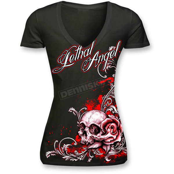 Lethal Threat Womens Black Floral Rose Skull T-Shirt - LT20288M