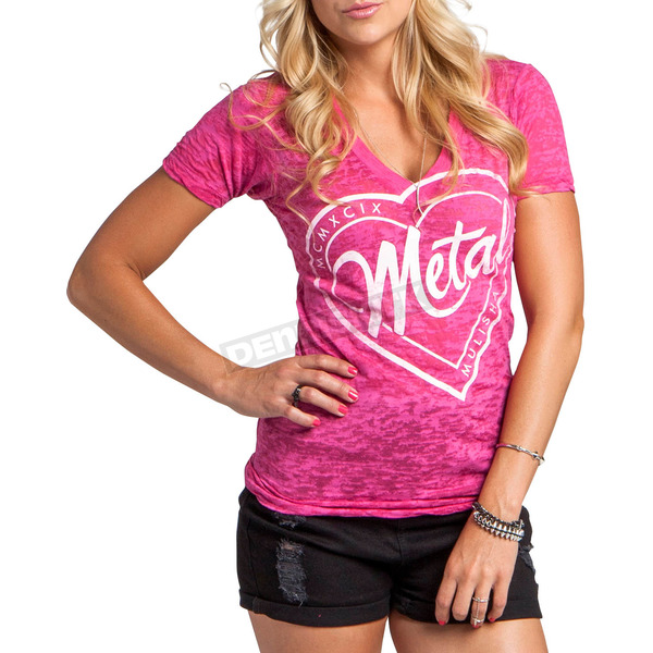 Metal Mulisha Womens Hot Pink Stamped V-Neck T-Shirt - M157S18105HPKL
