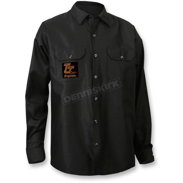 Throttle Threads Black Originals Long-Sleeve Shop Shirt - TT612S34BK3R