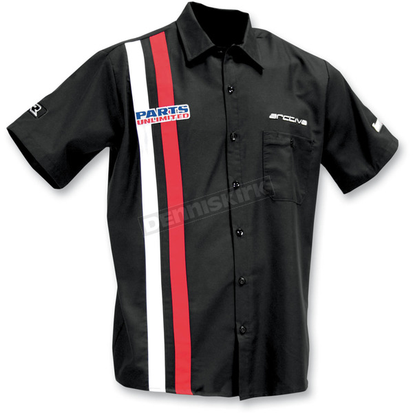 Throttle Threads Black Parts Unlimited Retro Shop Shirt - PSU22ST10BRW4R