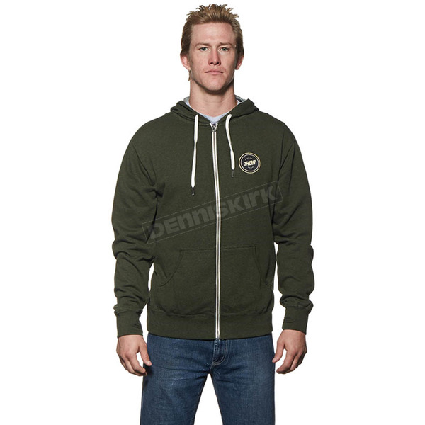 Thor Olive/Heather Winners Circle Zip-Up Hoody - 3050-3137