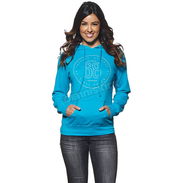 Thor Womens Aquamarine Button Pullover Hoody - 3051-0893