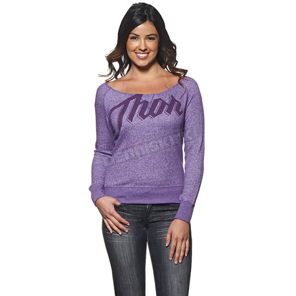 Thor Womens Purple Script Off Shoulder Top - 3051-0903